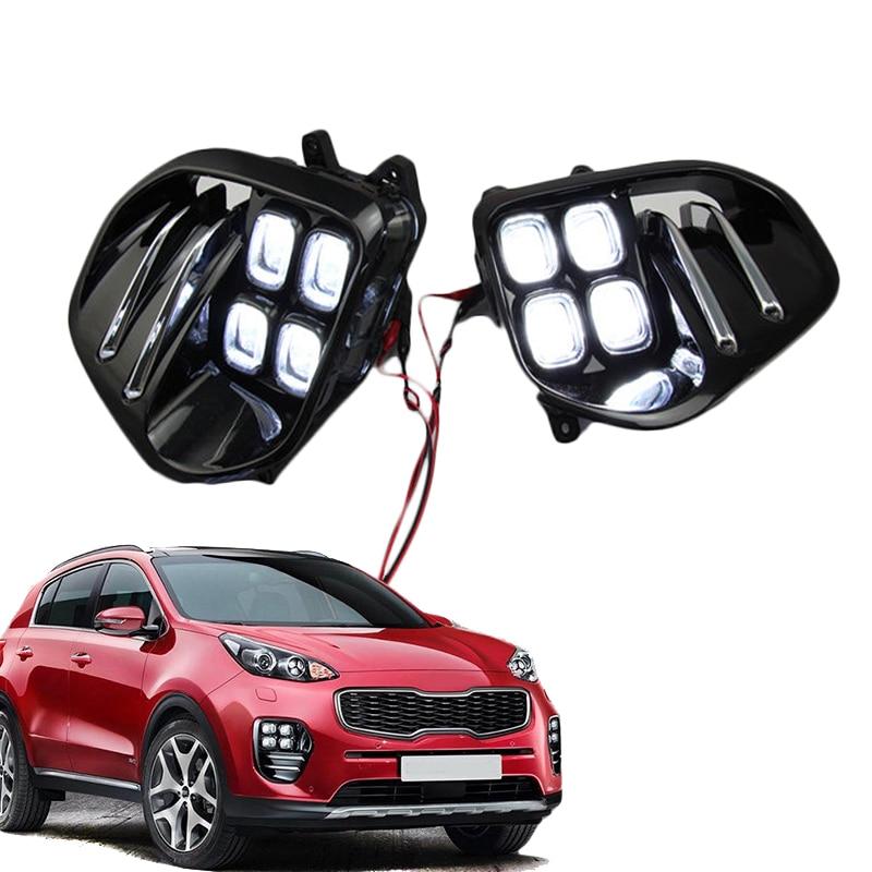 Auto Car White LED DRL Light LED Fog Light Lamp Daytime Running Light Set For KIA Sportage QL kx5 2016 2017+