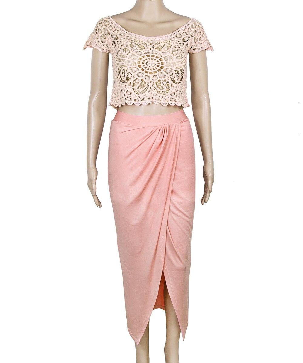 Elegante Damen Lace Crochet Front Splits 2-teiliges Set Club Dress - Damenbekleidung - Foto 4