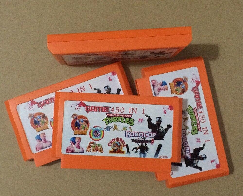 Top quality 8 bit Game Cartridge 450 in 1 with Robocop NINJA TURTLES Tiny Toon, Double Dragon,etc.