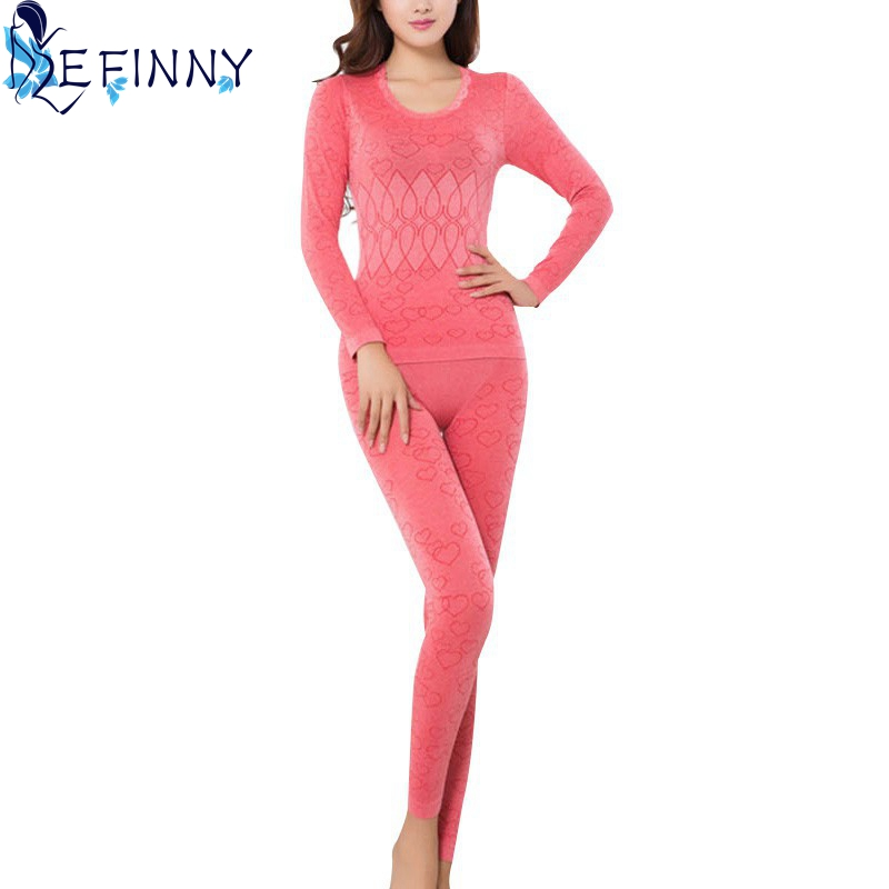 2018 Winter Seamless Antibacterial Breathable Long Johns Sexy Print Women Body Shaped Underwears Set Women's Thermal Underwear
