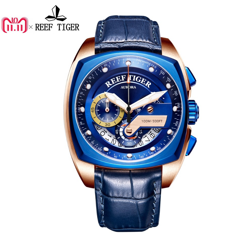 2018 Reef Tiger/RT Top Brand Sport Watch for Men Luxury Blue Watches Leather Strap Waterproof Watch Relogio Masculino RGA3363 2018 reef tiger rt top brand sport watch for men luxury blue watches leather strap waterproof watch relogio masculino rga3363