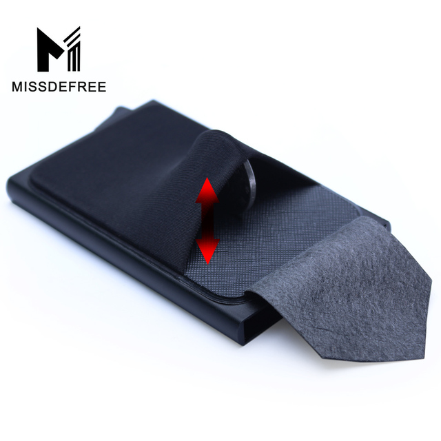 Aluminum Wallet With Back Pocket ID Card Holder RFID Blocking Mini Slim Metal Wallet Automatic Pop up Credit Card Coin Purse 2