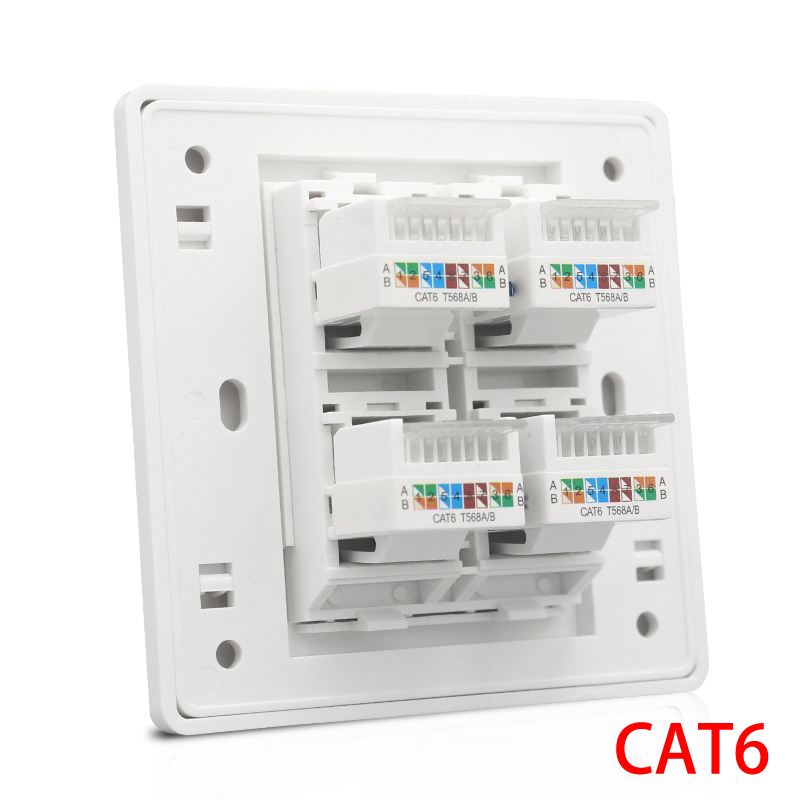 Cat 6 Type 4 Ports RJ45 Internet Wall Outlet Faceplate 86x86mm For LAN Ethernet Cover 120mm wall plate 4 ports network ethernet lan cat5e rj45 socket panel faceplate home plug adapter