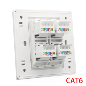 Cat 6 Type 4 Ports RJ45 Internet Wall Outlet Faceplate 86x86mm For LAN Ethernet Cover(China)