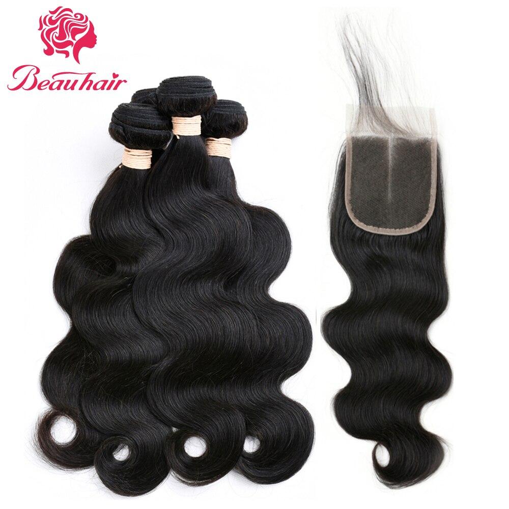 BeauHair 8A Paquetes de cabello peruano con cierre corporal Wave 3 - Productos de belleza