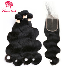 BeauHair 8A peruvianske hårpakker med lukning Body Wave 3 Bundles Remy Hair Weave Human Hair Bundles With Closure # 1B