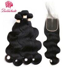 BeauHair 8A Peruvian Hair Bundles With Closure Body Wave 3 Bundles Non Remy Hair Weave Human Hair Bundles With Closure #1B
