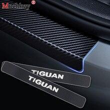 Для Volkswagen VW Tiguan, автомобильная дверная защита, автомобильный порог, приветственная наклейка на педаль, 4D виниловая наклейка из углеродного волокна для автомобиля, Стайлинг 4 шт