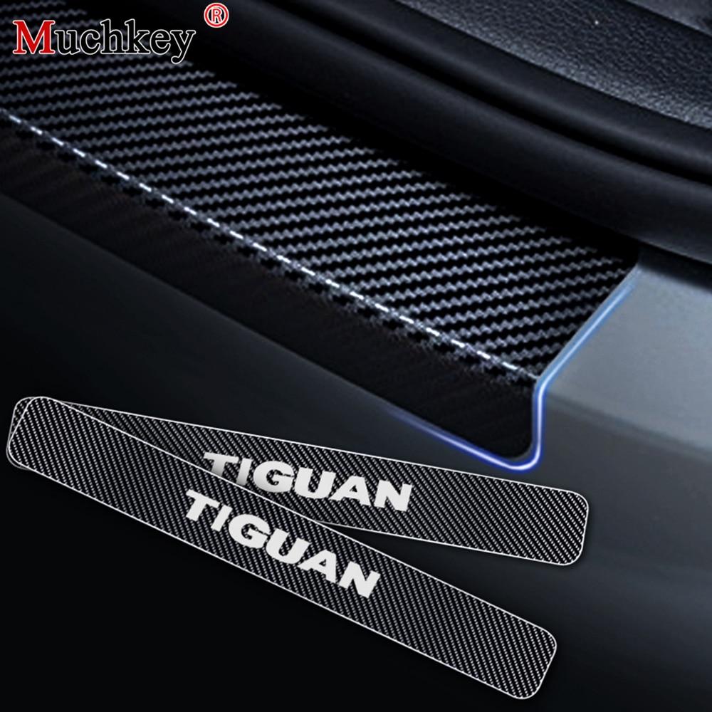 Para Volkswagen VW Tiguan Guarda da Entrada Da Porta de Carro Porta Do Carro Pedal Bem-vindo Peitoril Etiqueta 4D fibra De Carbono vinyl etiqueta Do Carro styling 4 PCS