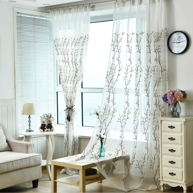 Green Willow Leaf Sheers Curtain For Living Room Window Home Decor For Bedroom  Draperies Drapes Green