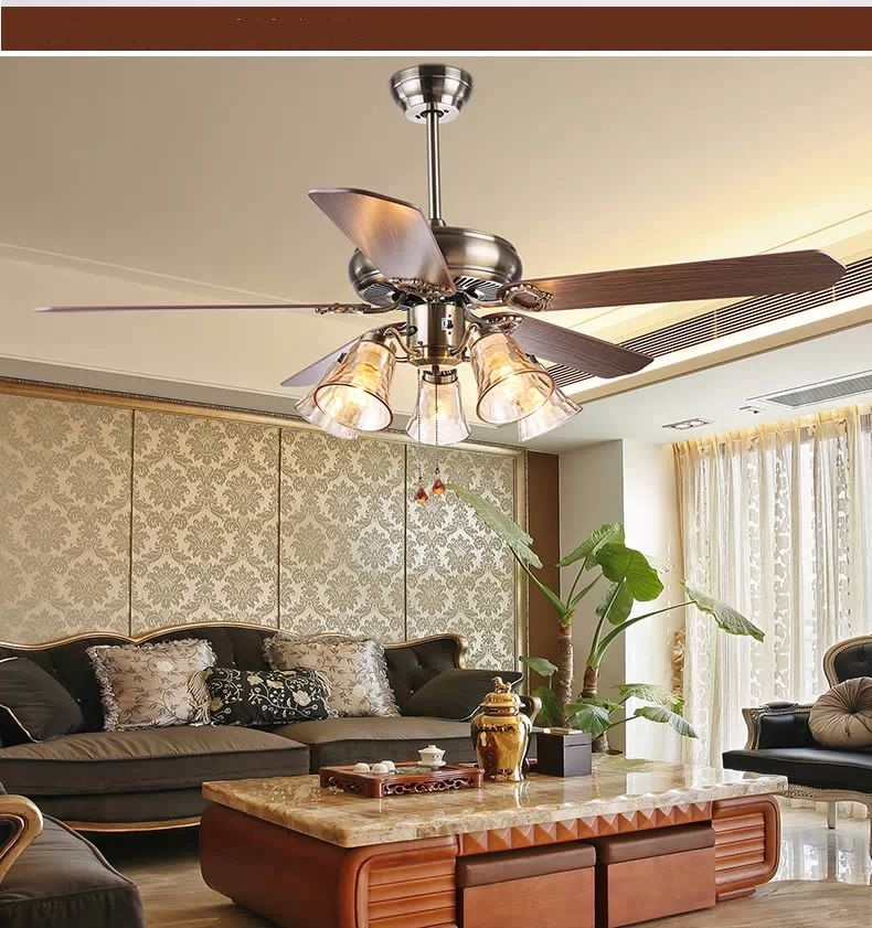 Living Room Ceiling Fan Light Antique Dining 52inch European Style Bedroom Remote