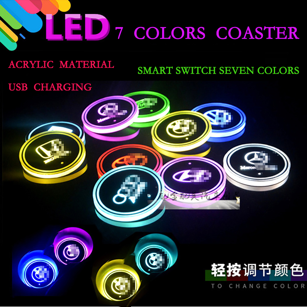 2 pieces Car Coaster Pad LED Light with 7 Colors Car LED Coaster Cup Non-slip mat Decorative atmosphere lights free shipping for vland car styling head lamp for vw golf 7 headlights led drl led signal h7 d2h xenon beam