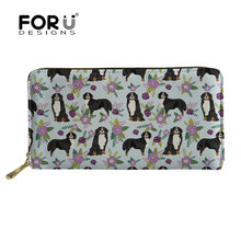 FORUDESIGNS Bernese Dog Pet Leather Women Wallet Female Long Zipper Purse Large Capacity Coin Phone Credit Card Holder Clutch