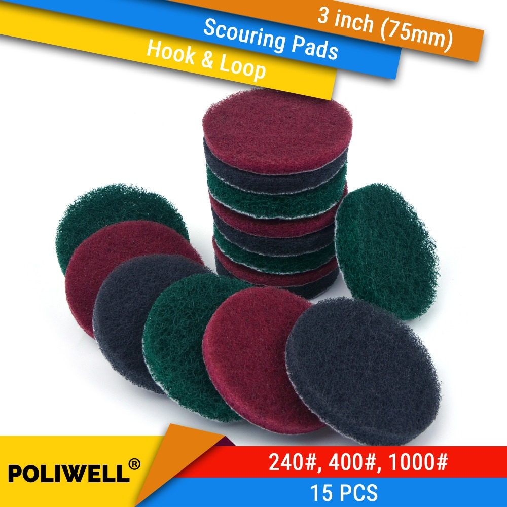 Scrub Pad 15Pcs 3 Inch 75mm Flocking Industrial Scouring Pads Heavy Duty 240/400/1000# Nylon Polishing Pad For Kitchen Cleaning