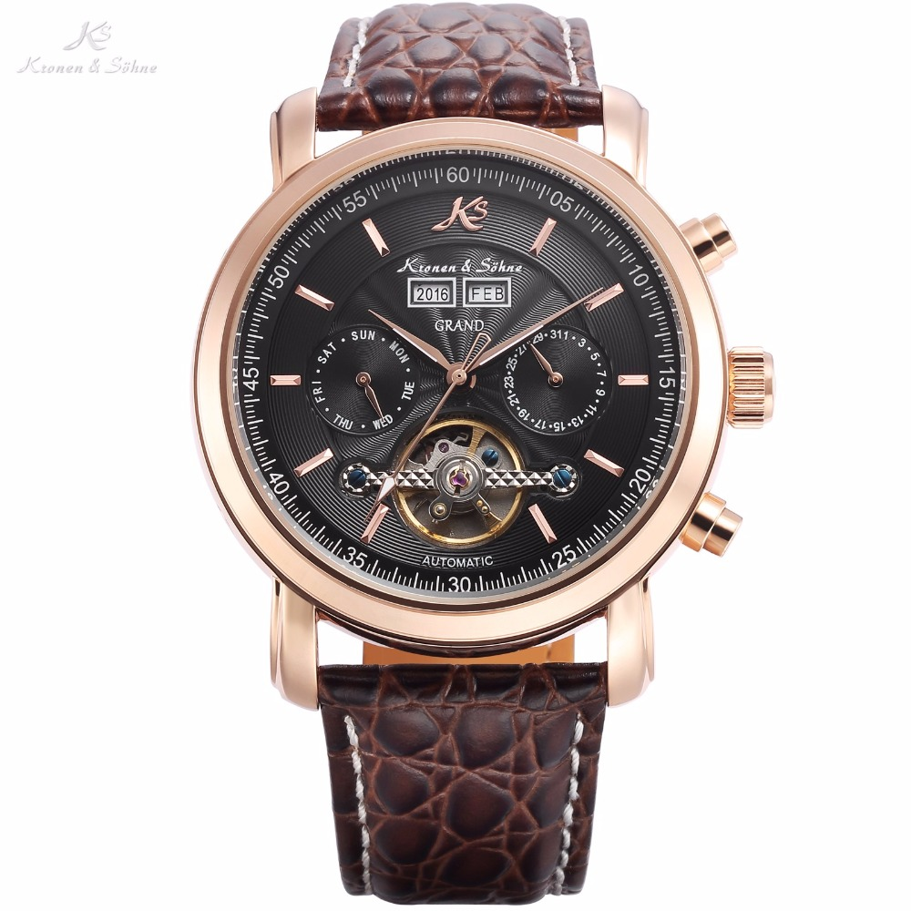 KS GRAND Series Automatic Mechanical Rose Gold Case Date Tourbillon Steel Case Men Leather Wrist Watches +Luxury Wood Box /KS368 original binger mans automatic mechanical wrist watch date display watch self wind steel with gold wheel watches new luxury