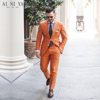 Fashionable Men S Suit New Orange Suits Groomsmen Wedding Groom Tuxedos Business Formal Wear