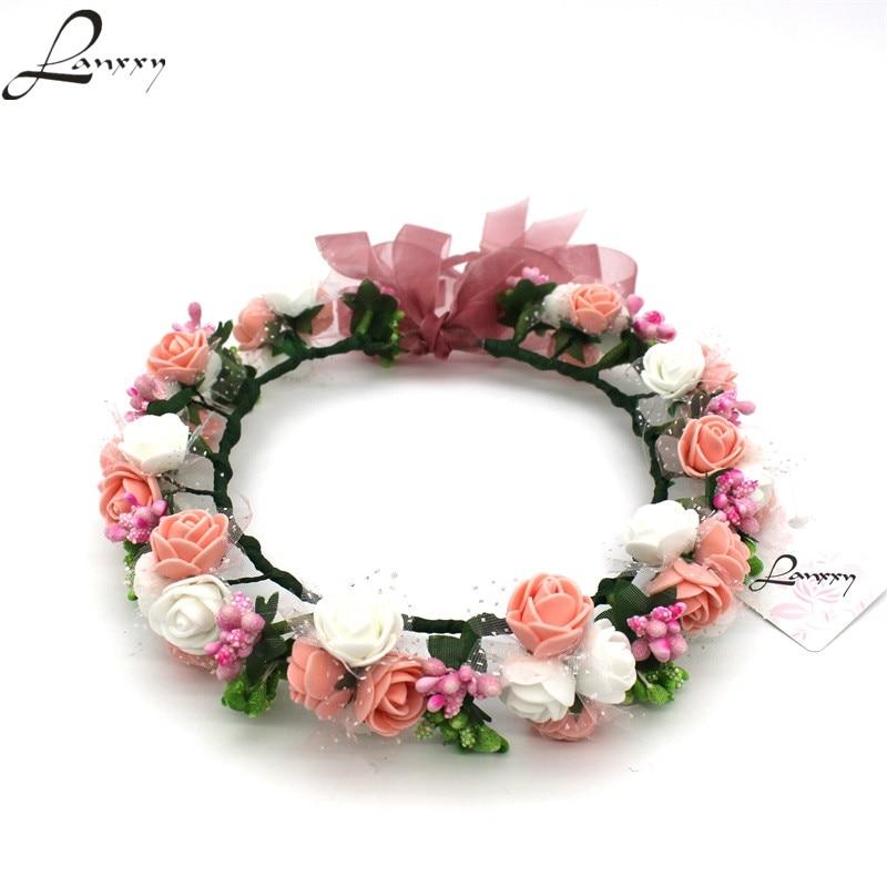 0a66dabcd Lanxxy New Women Wedding Bridal Hair Bands Flowers Hair Accessories Floral  Crown Girls Summer Headwear Fashion Headband. Bohemian Flower Crown Peach  ...