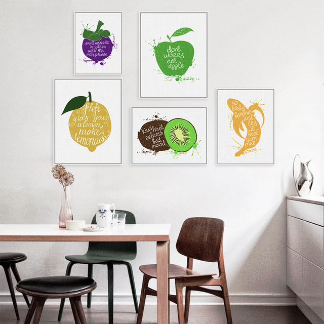 Fruit English Proverb Oil Painting Canvas Art Nordic Poster Living ...