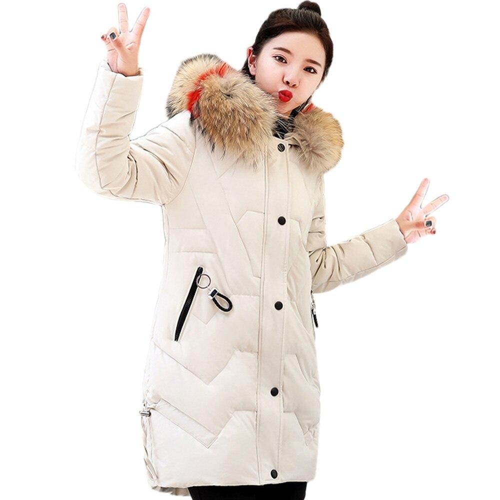 Di Rivestimento colore Cotone Modo Mujer Cappotto Pelliccia Donna Collare Con Nero Inverno Cappuccio Donne rosso Più Sottile Caldo Spessa Lungo Del Cappotti Rosa Beige Parka Outwear il dSqSU
