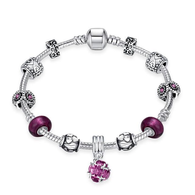Elegante Bola de Amatista Púrpura CZ Diamond Star Pulsera con Mujeres Casual Banquete de Boda Joyería Cubic Zircon Brazaletes