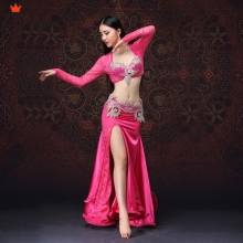 fastshippingTop class clothes Women Dancewear Belly Dancing Clothes Oriental Dance Outfits Beaded Costume Set 4 pcs