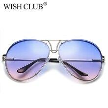 WISH CLUB Fashion Aviator Sunglasses For Women Vintage Female Gradient lens Glasses Gold Frame Sunglasses Men Ladies Glasses