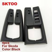 A Set (Black)For Skoda Superb Inner door handle armrest, switch box inside the of glove package