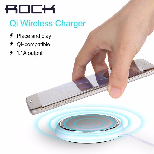 Rock qi inalámbrica cargador 5v2a cargador rápido con luz led azul para samsung s7 s7 edge s6 s6 edge note5 todo habilitado para qi dispositivos