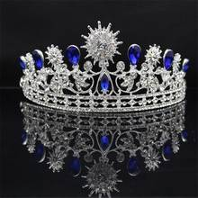 Blue Crystal Sunflower Crown Tiara Headbands Baroque Style Wedding Jewelry Engagement Hair Accessories For Bride