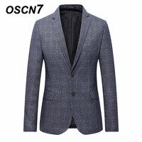 OSCN7 Grey Check Casual Slim Fit Balzer Men 2018 Spring Plus Size 7xl Blazer Men Formal Business Suit Jacket Men 6xl 5xl 4xl