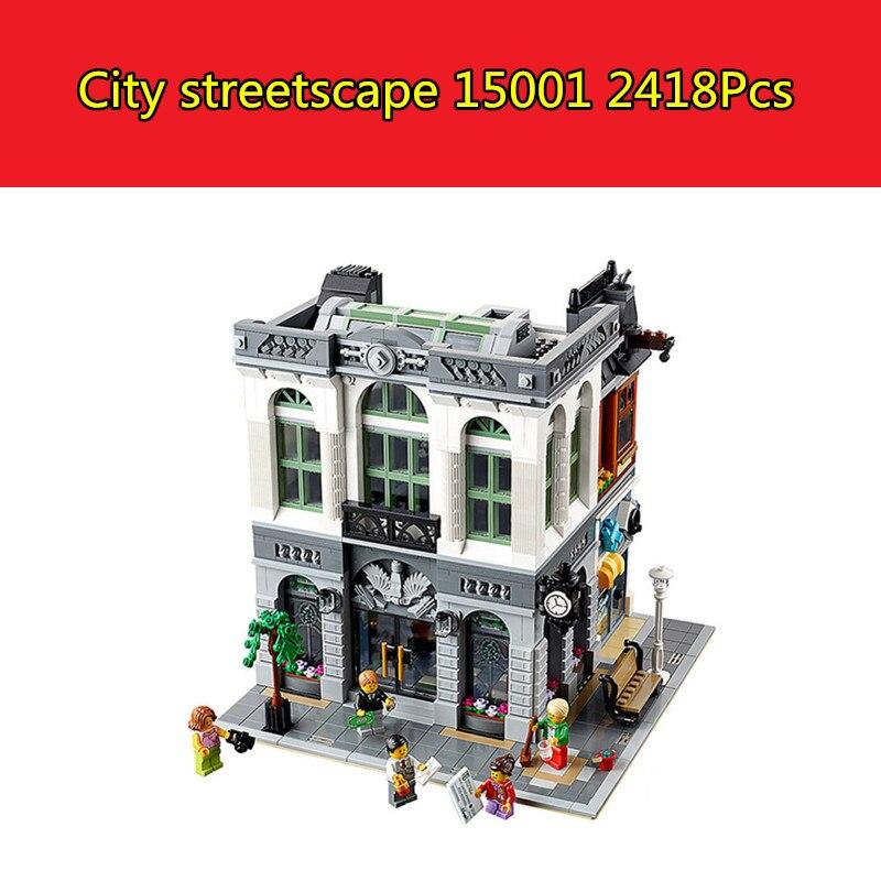 15001 2413Pcs Brick Bank Model Building Kits Blocks Bricks Toy Compatible With lego 10251 3D Bricks figure toys for children lepin 15001 brick bank model building kits blocks bricks kits toy compatible with 10251