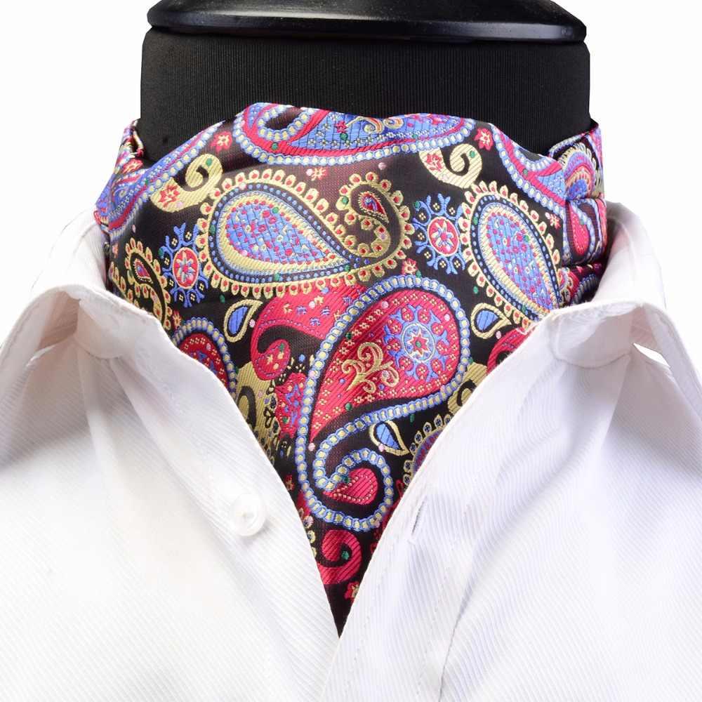 GUSLESON Lüks erkek Ascot Vintage Paisley Çiçek Jakarlı Dokuma İpek Kravat Kendinden Kravat Kravat Ezme İngiliz tarzı Beyefendi