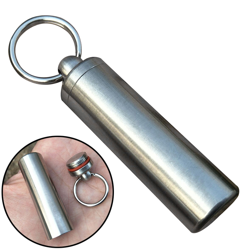High Quality Waterproof Stainless Steel Pill Capsule Seal Bottle Container Keychain Case Box Portable Outdoor Emergency Tools