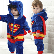 High Quality 2 Styles Newborn Kid Boy Girl Jumpsuits Cute Winter Thick Rompers Long Sleeve Baby Superman Batman Romper