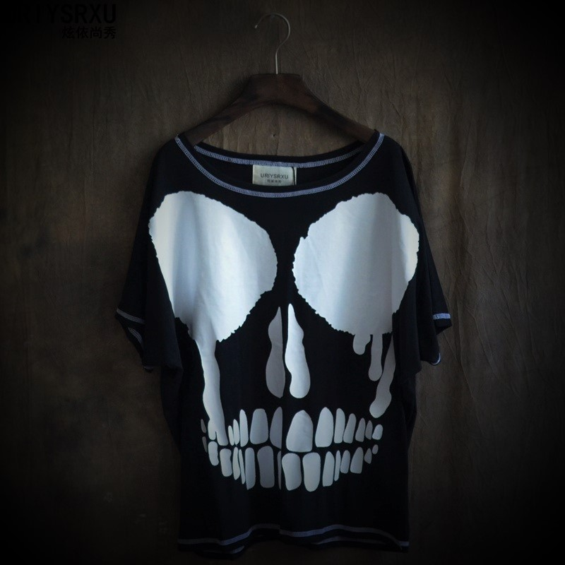 Undertale Han Edition Personality Rock Hip-hop Alternative Non-mainstream Short Sleeve T-shirt Skull Printing Batwing Coat Male