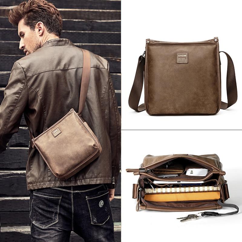 DIDE Brand Casual Male Bag Fashion Shoulder Bag Soft Leather Men Messenger Bag Small Crossbody Bag Travel Designer Handbags