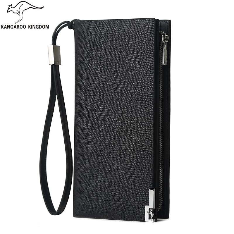 Kangaroo Kingdom Luxury Men Wallets Long Split Leather Business Men Clutch Wallet Brand Zipper Purse Card Holder