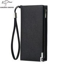 Kangaroo Kingdom Luxury Men Wallets Long Split Leather Business Men Clutch Wallet Brand Zipper Purse Card Holder