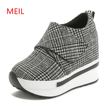 Casual Sport Women Shoes Hidden Heel 9CM Round Toe Gingham sShoes Wedges and Platform Womens Luxury Sneakers 2019 Fashion