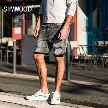 SIMWOOD 2018夏季新短裤男士牛仔洞破洞时尚短款修身街头大码牛仔裤品牌服装180163 roupas da moda masculina 2019