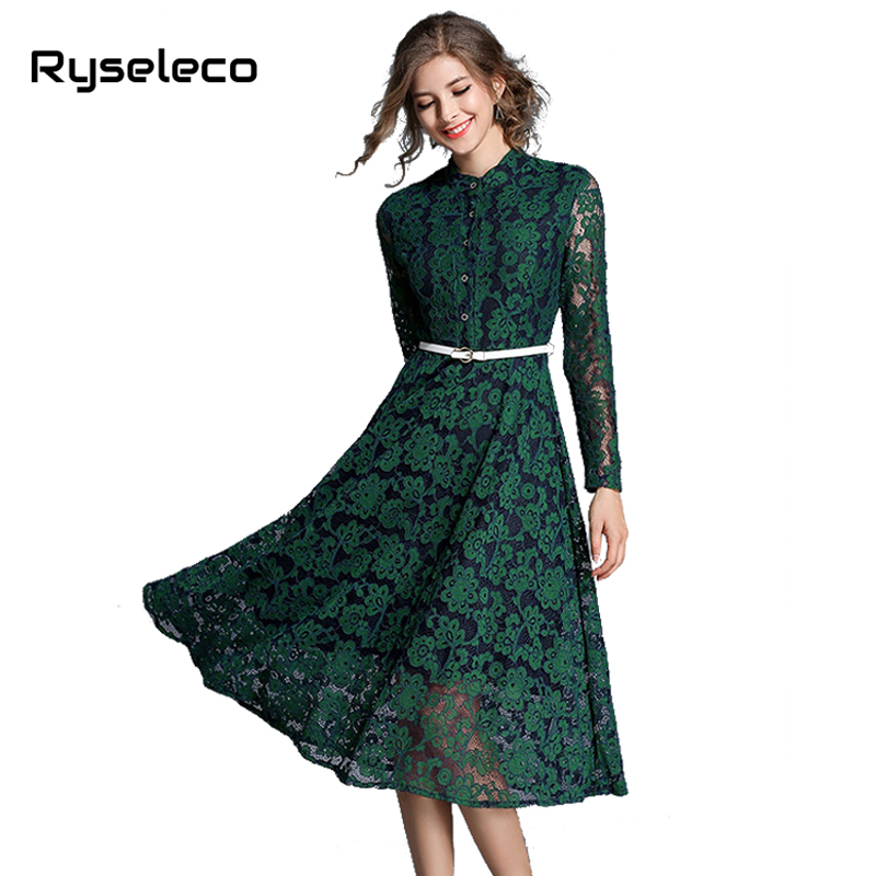 Women Floral Lace Long Sleeve Flare Dresses Female Elegant Vintage Slim Stand Collar Button Up Mid-calf Casual Party Vestidos