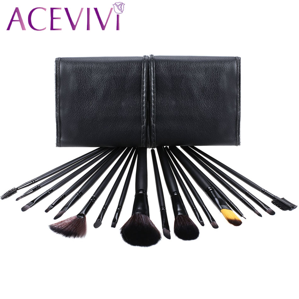 Professional 18 pcs Makeup Brush Set tools Make-up Toiletry Kit Wool Brand Make Up Brush Set with Case 31 hot sale 2016 soft beauty woolen 24 pcs cosmetic kit makeup brush set tools make up make up brush with case drop shipping 31