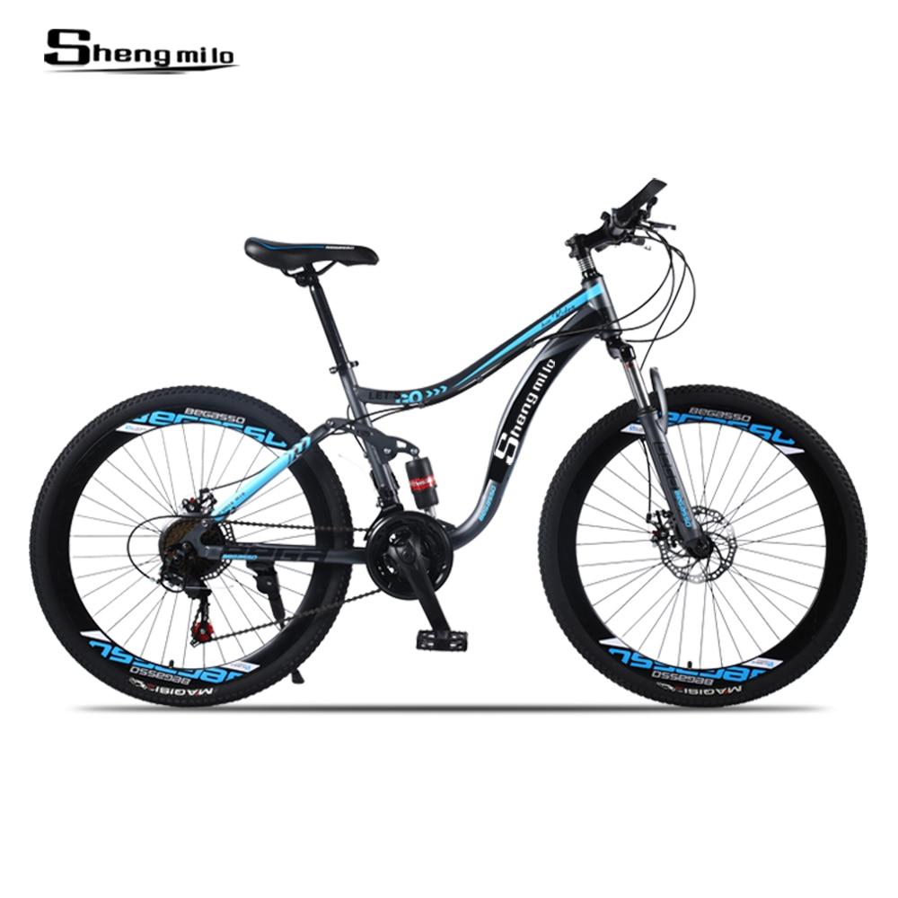Shengmilo  Mountain Bike 26 -inch Steel 21 -speed Bicycles Dual Disc Brake Variable Speed Street Bikes Racing BikeMountain Bike
