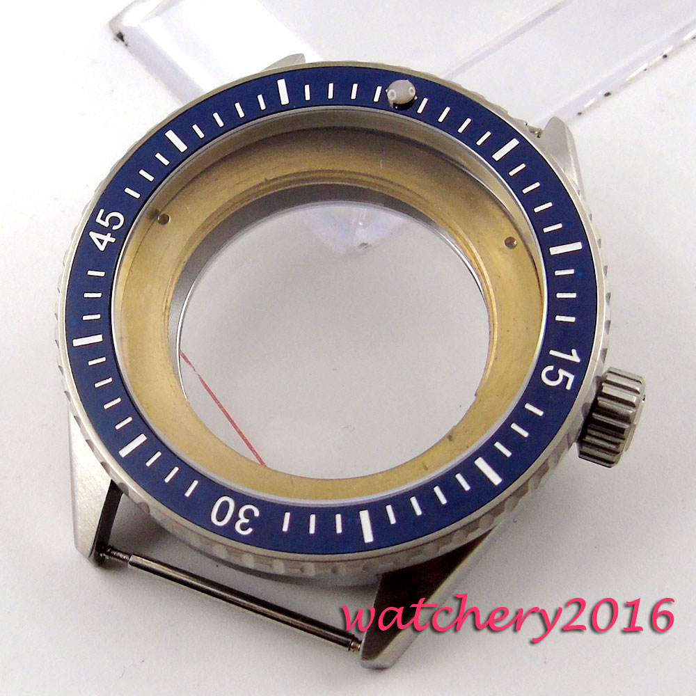 43mm blue ceramic bezel sapphire cystal Watch Case fit ETA 2824 2836 movement цена и фото
