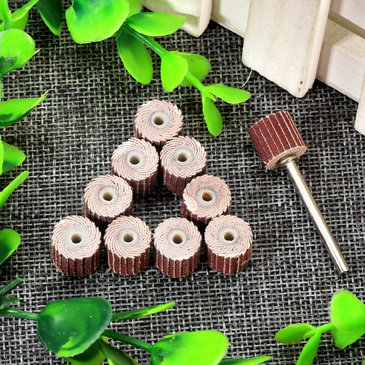 Купить с кэшбэком DRELD 10Pcs Dremel Accessories 240-Grit Sanding Flap Disc Grinding Sanding Flap Wheels Brush Sand Rotary Tool 10 x 10x 3mm