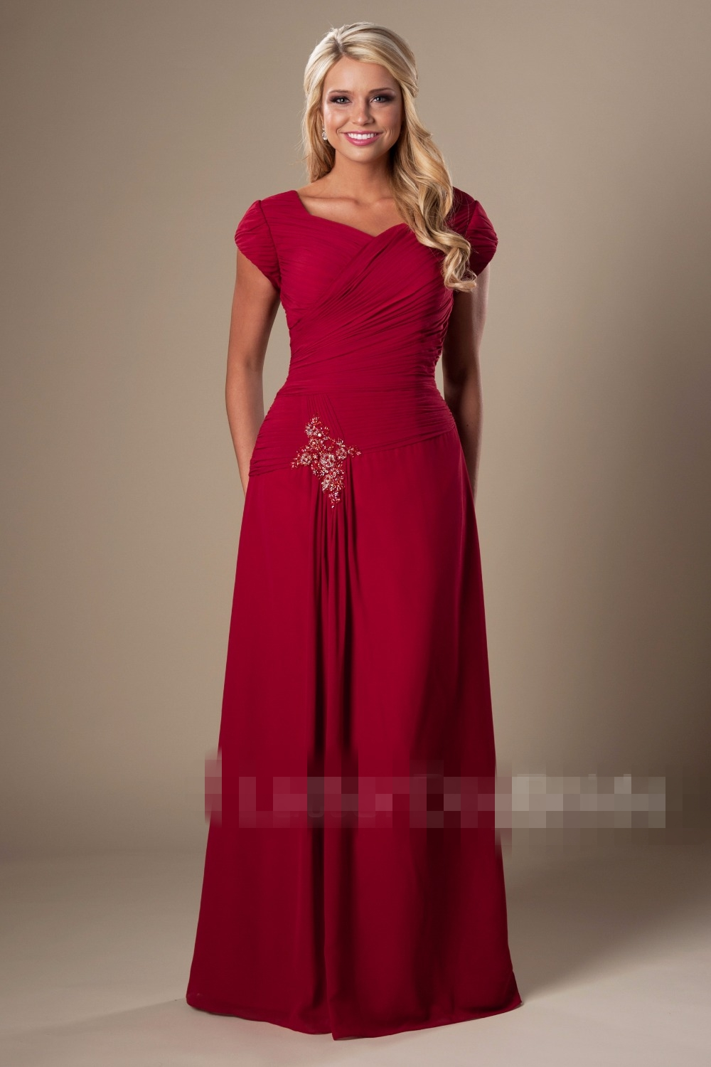 Dark Red Chiffon Modest   Bridesmaid     Dresses   2019 With Cap Sleeves Summer Temple Pleats Women Formal Wedding Party   Dresses   New