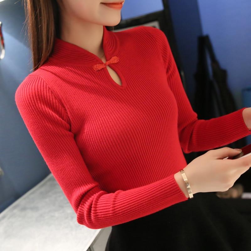 New 2017 Winter Fashion Women sweaters Elegant Cheongsam collar pullover sweater women slim Knitted sweater Female