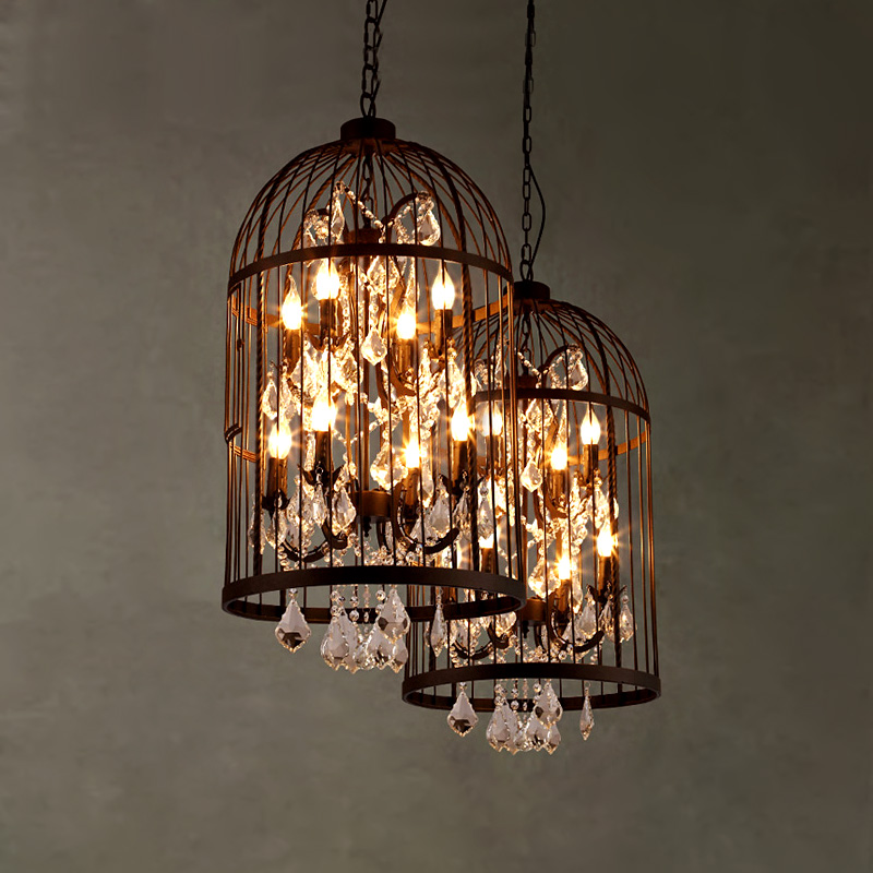 Nordic Vintage Iron+Crystal Rustic Pendant Lamp For Dining Living Room Decorative E14 Bird Cage Loft Pendant Lights Fixtures a1 master bedroom living room lamp crystal pendant lights dining room lamp european style dual use fashion pendant lamps
