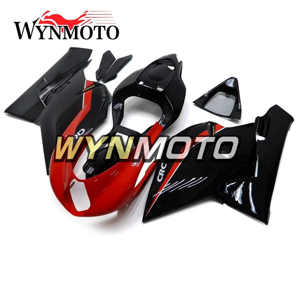 Полные МОТОЦИКЛ ABS Пластик Gloss черный, красный кузов новый комплект обтекателя Для MV Agusta F4 750/1000 Год 2000 2009 капоты