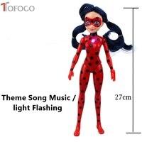 TOFOCO Yeni masalları Ladybug & Kedi Noir Bebek Modeli oyuncak Tema Şarkı Müzik ışık Mucizevi Böceği Bebek Oyuncak Lady Bug